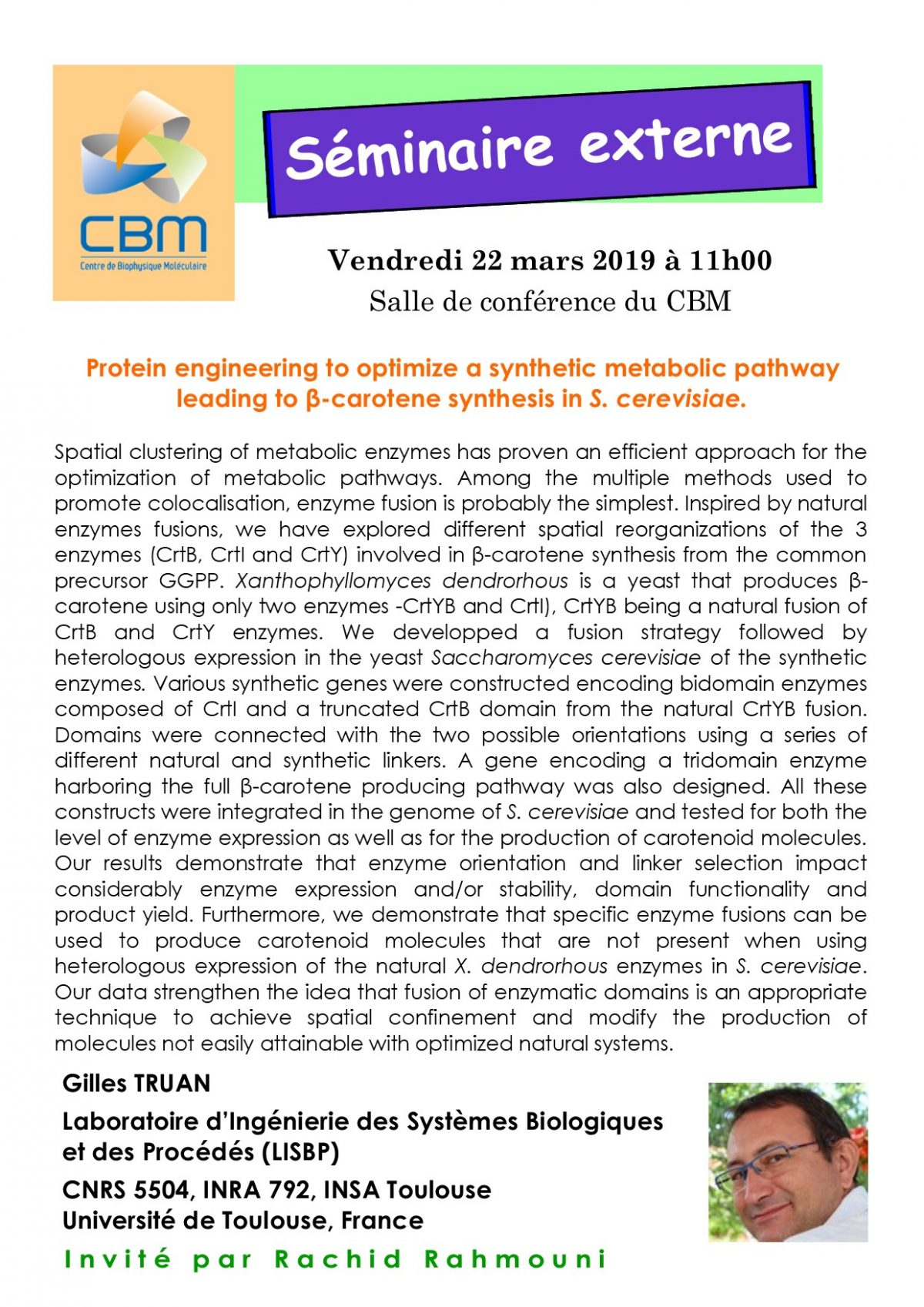 March 22, 2019 – external seminar of Gilles TRUAN
