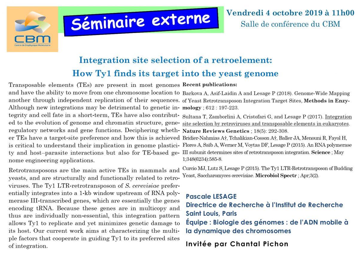 4 octobre 2019 : séminaire externe du Dr Pascale Lesage