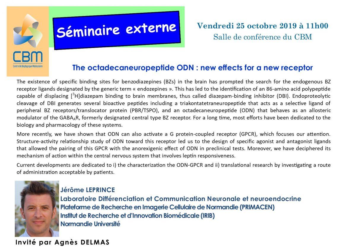 25 octobre 2019 : séminaire externe du Dr Jérôme LEPRINCE